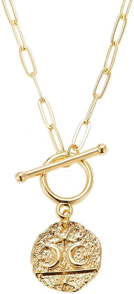 18K Gold Evil Eye Pendant Necklace Medallion Moon Star Compass Link Chain Choker Multilayer Jewelry for Women Girls