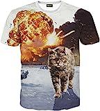 (ピゾフ)Pizoff メンズ 猫柄 Tシャツ 丸首半袖 ネコ柄 爆発柄 カッコいい 原宿系 おもしろ 個性的 快適 カジュアル V系 男女兼用 トップス Y1648-64-L