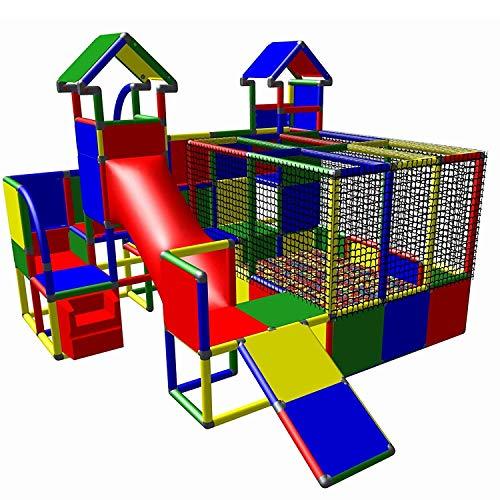 move and stic 6007 - großer Spielturm MIA mit Kleinkindrutsche und Kriechtunnel, Treppe und Bällebad