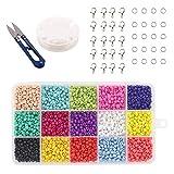 Cuentas de Colores 4mm Mini Cuentas,Alrededor de 2400pcs Cuentas para Collares,para Hacer Collares Pulseras Regalo para Niños(15 Colores)