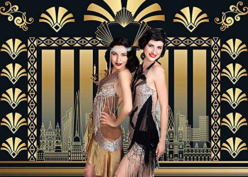 DANIU 7x5FT Roaring 20s Theme Telón de fondo The Great Gatsby Fotografía Fondo Retro Cumpleaños Boda 1920s Fiesta Decoración Adulto Celebración Photo Booth Prop
