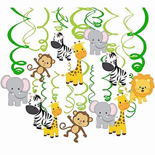 Comius 30 Pcs Animaux Suspendus Tourbillons Bannière, Animaux de la Jungle Suspendus décorations de Tourbillon pour Forêt Thème Anniversaire, Mariage, Fête