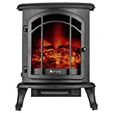 e-Flame USA Tahoe LED Portable Freestanding Electric Fireplace Stove - 3-D Log and Fire Effect (Black)