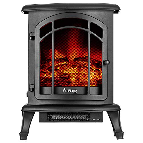 e-Flame USA Tahoe LED Portable Freestanding Electric Fireplace Stove - 3-D Log and Fire Effect...