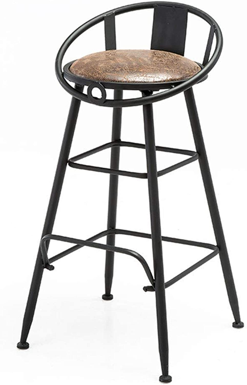 Barstools Chair with Foot Pedal, PU Leather Upholstered Bar Stool Iron Dining Chair Industrial Style Bar Stool High Chair, for Restaurant, Kitchen, Cafe, Bar Counter Height Swivel Seat