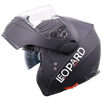 Casco para motocicleta Leopard, LEO-838, con visera solar doble con frente rebatible, seguridad para motocicletas, Hombre mujer, negro mate, XS (53-54 cm)