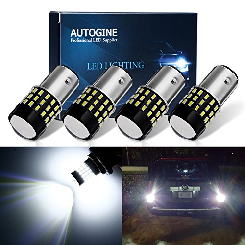 AUTOGINE 4pcs 1000 Lumens 9-30V 1157 2057 2357 7528 BAY15D LED Bulbs 3014 54-EX Chipsets with Projector for Reverse Back Up Lights DRL Tail Brake Lights, 6000K Xenon White