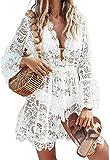 I3CKIZCE Copricostumi Parei Donna Spiaggia Vacanza Estivo Scollo a V con Merletto Pizzo Coulisse Trasparente Casual Sexy Elegante Moda (Bianco, L)