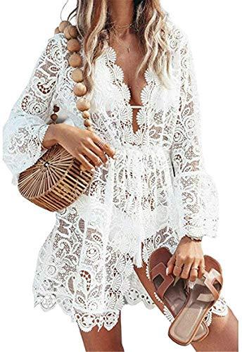 I3CKIZCE Copricostumi Parei Donna Spiaggia Vacanza Estivo Scollo a V con Merletto Pizzo Coulisse Trasparente Casual Sexy Elegante Moda (Bianco, XL)
