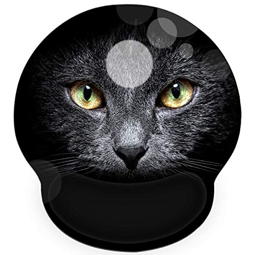 Mouse Pad with Wrist Rest Support, 9 x 10 Inches Non-Slip Memory Foam Mouse Pad Mat for Computer Laptop Gaming Office, Ergonomic & Lightweight & Pain Relif by AORTDES (Black Cat)