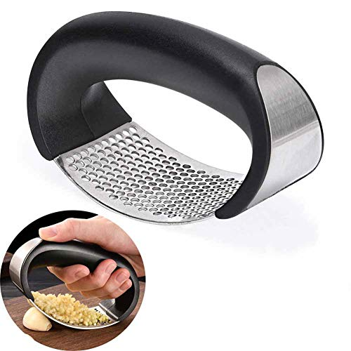 Garlic Mincer Tool, Stainless Steel, Laminated Plate Design, One-Handed Operation, Fast And Easy, Rust-Proof, Comfortable To The Hand