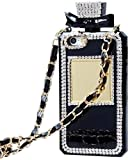 Poowear for iPhone SE 2020 Case/iPhone 8 Case/iPhone 7 Case, Perfume Bottle Cover with Necklace Neck Wrist Chain String Luxury Bling 3D Glitter Crystal Diamonds Rhinestone Shell for Apple iPhone 8/7