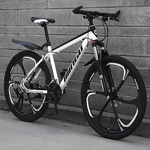 BREEZE 26 Zoll Mountainbike, geeignet ab 150 cm, Scheibenbremse, Vollfederung, Jungen-Fahrrad & Herren-Fahrrad,White and Black,24 Speed