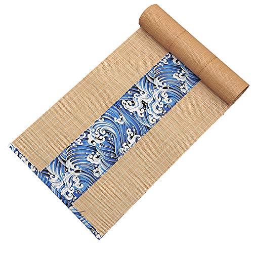 Corredor de Mesa Camino de Mesa de Bambú Vintage Impermeable, Mantel Individual Antideslizante Resistente Al Calor de Estilo Japonés, 300/250/210/180/150/120/90 cm de Largo
