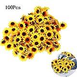 Cratone 100 Cabezales de Girasol Artificiales de plástico para Novia Baby Shower simulación de Flores decoración de Boda Fiesta Amarillo 4 cm