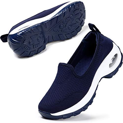 STQ Sneaker Casual da Donna Scarpe da Corsa su Strada Donna Sneaker Sportive alla Moda Scarpe Comfort Casual(Blu Scuro 41 EU)