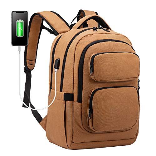 LOVEVOOK Mochila para ordenador portátil de 15,6 pulgadas, mochila escolar para jóvenes, adolescentes, con puerto de carga USB, multifunción, para negocios, para trabajo viaje, color marrón