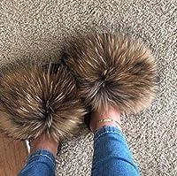 2020年の女性の毛皮のスリッパレディースシューズかわいいふわふわサンダルレディーススリッパ冬暖かいスリッパ女性のホット (色 : Purpel, Shoe Size : 10.5)