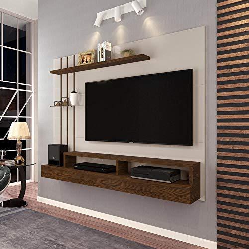 Painel para TV até 47 Polegadas Classic Off White com Freijó - Móveis Jaci