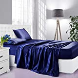Lanest Housing Silk Satin Sheets, 4-Piece Queen Size Satin Bed Sheet Set with Deep Pockets, Cooling and Soft Hypoallergenic Satin Sheets Queen - Navy Blue