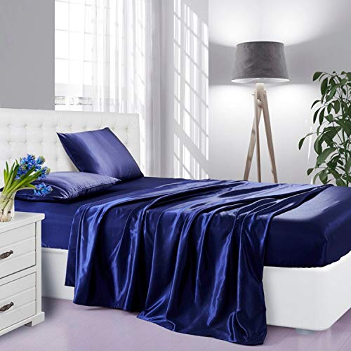 Lanest Housing Silk Satin Sheets, 3-Piece Twin Size Satin Bed Sheet Set with Deep Pockets, Cooling and Soft Hypoallergenic Satin Sheets Twin - Navy Blue