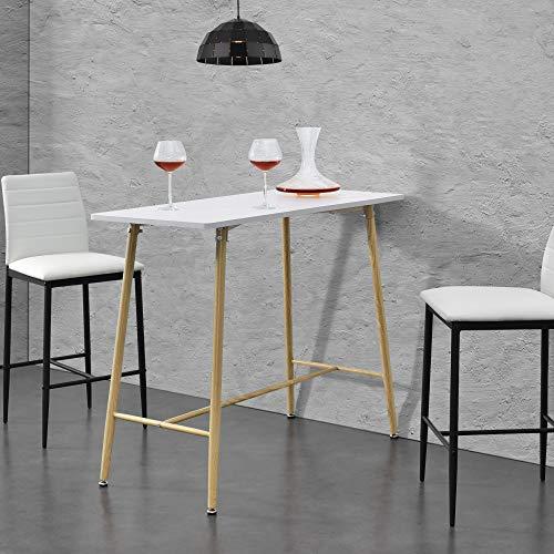 [en.casa] Mesa de Bar Mesa de Bistro Elegante 110 x 50 x 90 cm Mesa Alta Cuadrada Cocina Barra Blanco