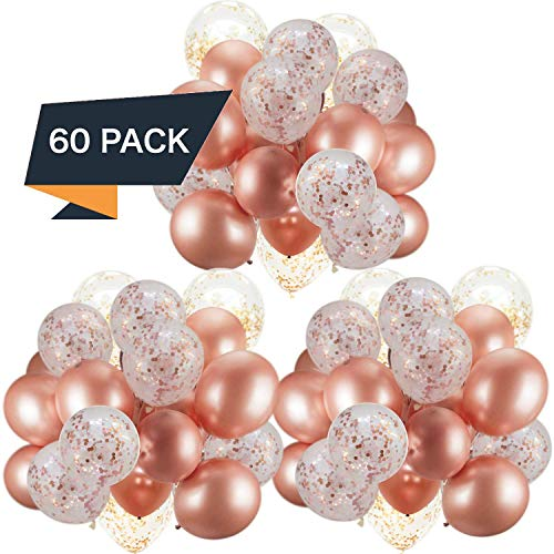 60 Pack Rose Gold Balloons + Confetti Balloons w/Ribbon | Rosegold Balloons for Parties | Bridal & Baby Shower Balloon Decorations | Latex Party Balloons | Graduation, Engagement, Wedding & Birthday