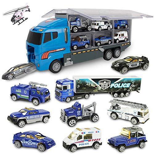 Jenilily 10 in 1 Polizei Autos Spielzeug Fahrzeuge LKW Spielzeugautos 3 4 5 Jahr Kinder Junge