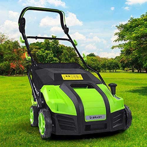 BRAST Elektro Vertikutierer Rasenlüfter 1800 Watt 40cm Arbeitsbreite 55L Fangkorb 2in1 Kombi Gerät Moosentferner