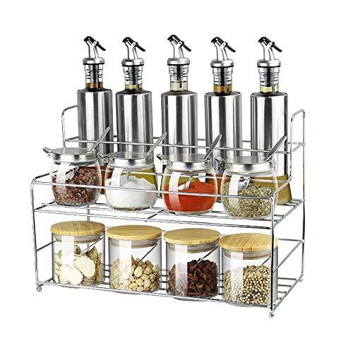 STRAW Contenedor de condimentos Conjunto de Caja de condimentos Botes de condimentos de Vidrio Ollas con Tapa y Base de Cuchara