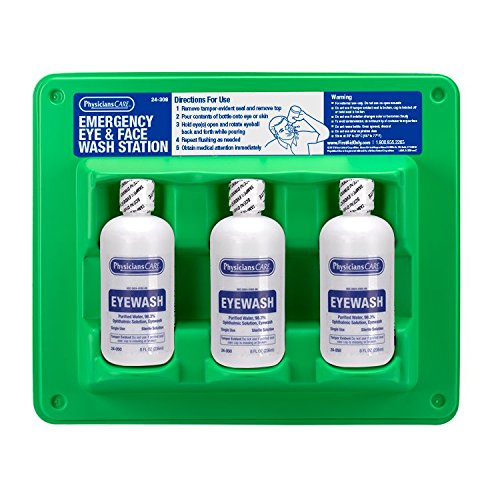 PhysiciansCare by First Aid Only 24-308 Wall Mountable Eye Wash Station with Triple 8 oz Bottle, 13.5' L x 3' W x 11.5' H