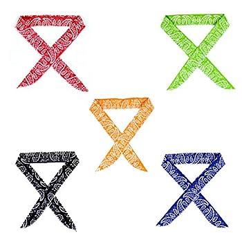 Pack of 5 Keklle Ice Cool Scarf Neck Wrap Headband Bandana Cooling Scarf 5 Pcs Value Pack  Camouflage Black Blue Orange Red Green