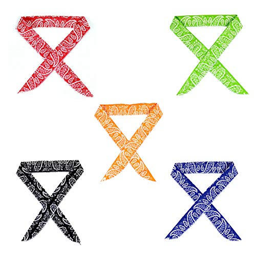 Pack of 5, Keklle Ice Cool Scarf Neck Wrap Headband Bandana Cooling Scarf, 5 Pcs Value Pack (Camouflage, Black, Blue, Orange, Red, Green)