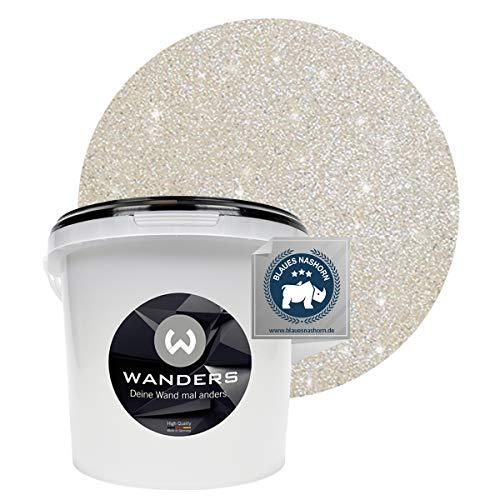 Wanders24® Glimmer-Optik (3 Liter, Silber-Sand) Glitzer Wandfarbe - Wandfarbe Glitzer - abwaschbare Wandfarbe - Glitzerfarbe - Made in Germany