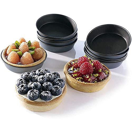 Non Stick Mini Flan Moulds 80mm (Pack of 12) - [E196]