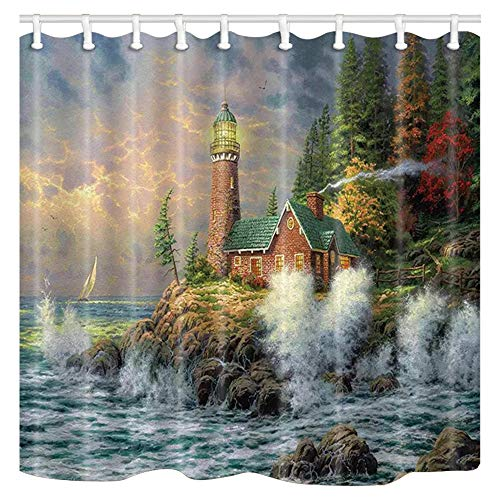 Shocur Lighthouse Shower Curtain, Coast Waves and Cape Tower Cabin, 69 x 70 Inches Nature Theme Bath Curtain, Polyester Fabric Bathroom Decor Set with 12 Hooks