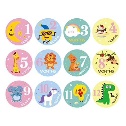 STOBOK Etiquetas engomadas mensuales del hito del bebé pegatinas del mes animal para el bebé recién nacido 12pcs