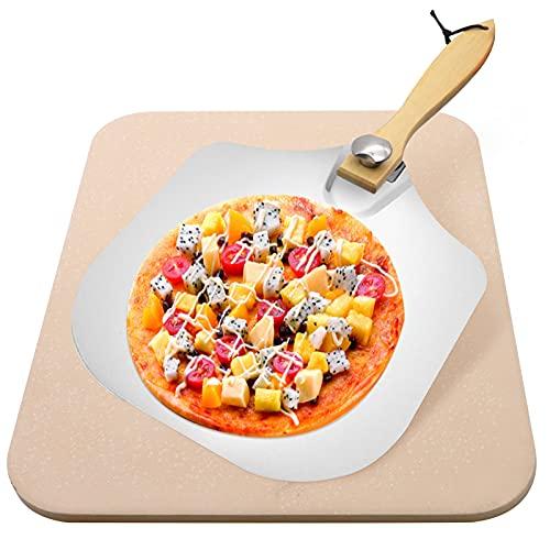YADIMI Juego de Piedra para Pizza, Piedra de Pizza de Cordierita, Piedra Pizza para Horno y Parrilla de Gas Para Base Crujiente y Agregado Jugoso