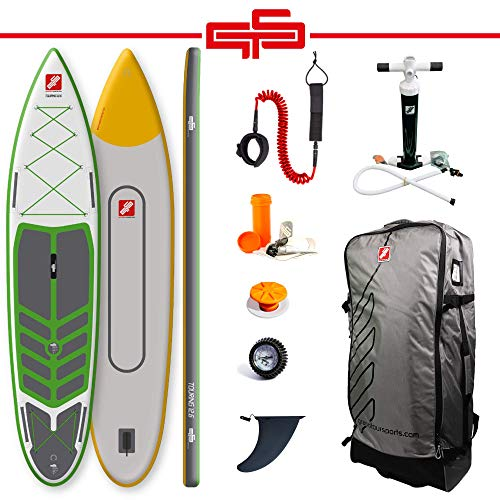 grandtoursports*com Stand Up Paddle Board, 82,5x381x15cm 360l bis 120kg, aufblasbares SUP Stand Up Paddling Board GTS Touring 12.6 GGY DCT inkl. Zubehör Set