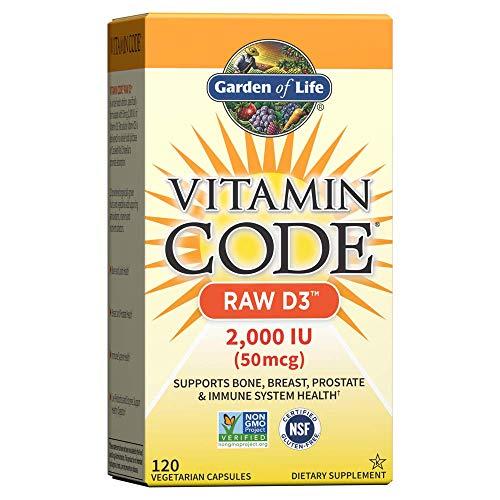 Garden of Life Vitamin Code Raw D3, 2, 000IU, 120 Vegetarian Capsules, 1 Units