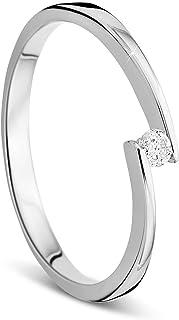 Orovi 2mm Ladies Gold 14carat (585) 0.05crt White Gold Diamond Ring With Diamonds