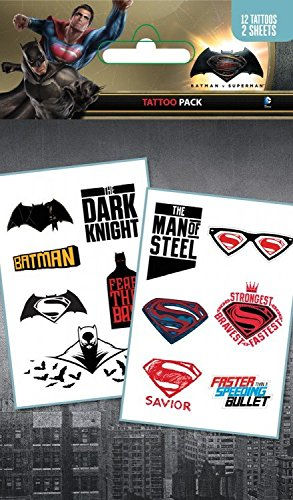 1art1 Batman Vs Superman, Mix, 12 Tattoos Paquet De Tatouages (17x10 cm) + 1x Sticker Surprise