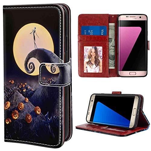 Wallet Case Compatible for Galaxy S7 [5.1in] Amazing Before Christmas Black Burton Great Halloween Horror Jack O Lanterns Jim King Legend Moon Nightmare Pumpkin