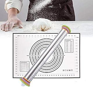 HNGPB Rouleau à pâtisserie en acier inoxydable pour mesurer l'épaisseur de la pâte avec 4 disques amovibles réglables pour...