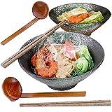 Ciotola Ramen Giapponesi, 1000 Ml Zuppa Ciotole Ceramica Scodelle Combinazione with Legno Bacchette Cucchiaio 2 Set, For Insalata Cereali Pasta Frutta Noodle Riso Snack Udon (B)