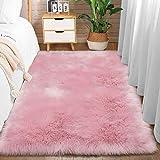 Comeet Super Soft Plush Faux Fur Sheepskin Area Rugs for Living Room Bedroom Shaggy Indoor Home Decor Bedside Sofa Chair Accent Teen Kids Girls Nursery Carpet Mat 3 x 5 Feet Pink