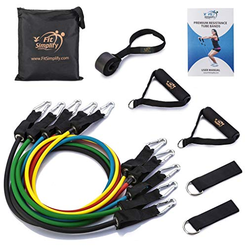 Fit Simplify Resistance Band Set 12 Pieces with Exercise Tube Bands, Door Anchor, Ankle Straps, Carry Bag and Instruction Booklet for Resistance Training, Physical Therapy, Home Workout, Yoga, Pilates
