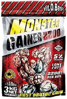 Carbohidratos MONSTER GAINER 2200 - Suplementos Alimentación y Suplementos Deportivos - Vitobest (Fresa, 3 Kg)