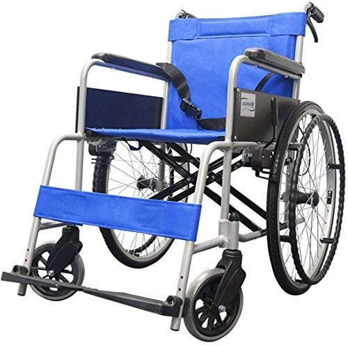 XUSHEN-HU Rollstuhl, leicht, zusammenklappbar, selbstfahrend, tragbar, mit Laufbremse, abnehmbare Fußstützen, 55,9 cm Hinterräder, blau fahrender Rollstuhl leicht