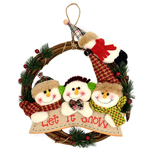 Christmas Wreath Christmas Decoration Handmade Cute Snowman Berry Hanging Christmas Wreath Front Door Decoration
